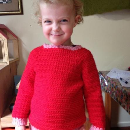 Elizabeth in her crochet jumper