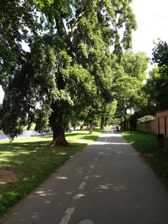 This pathway winds along the River Ouse and makes for a pleasant walk or ride into town. No car needed.